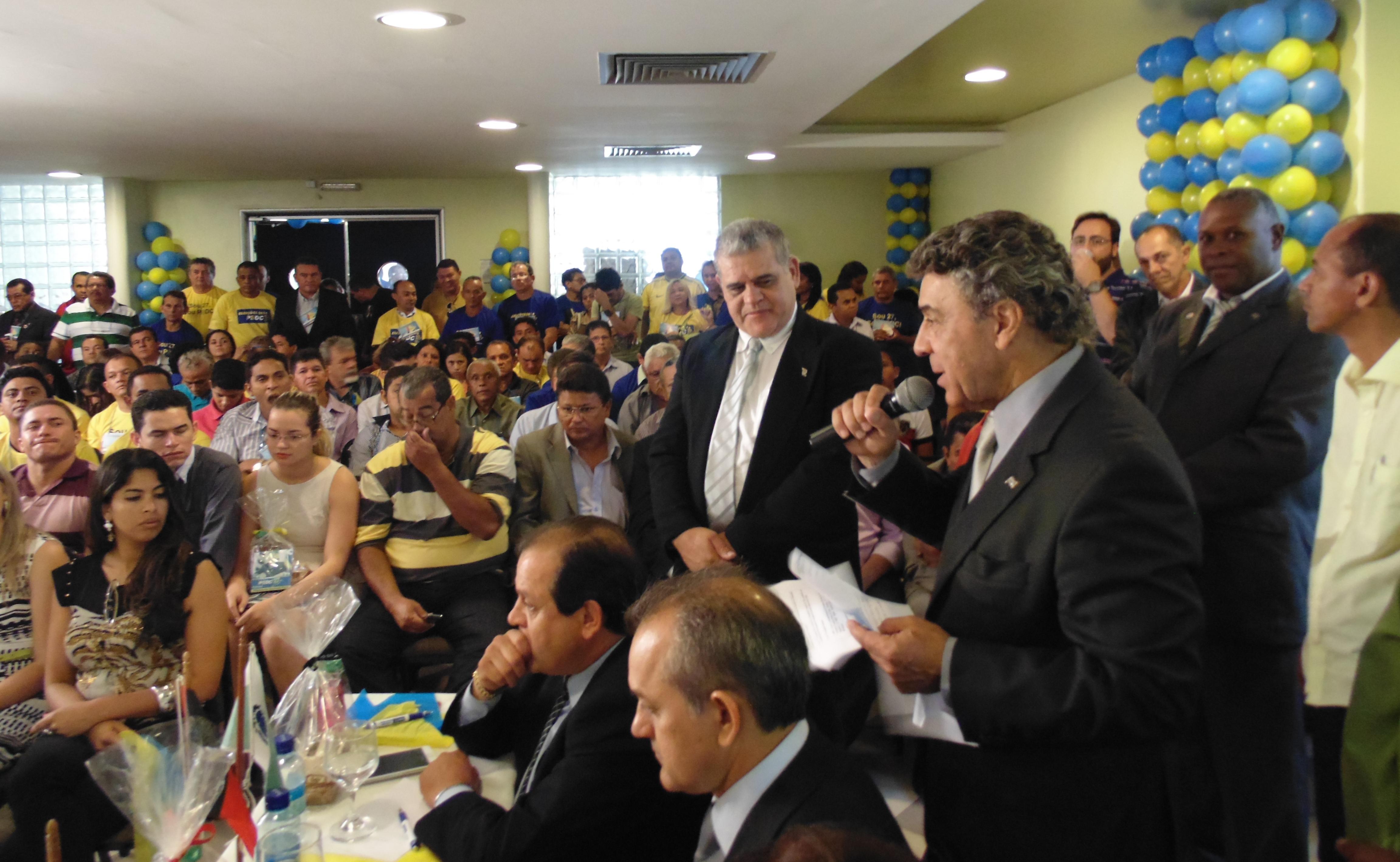 Rubens Pavão, membro da Executiva Nacional e Diretor de Propaganda e Marketing do PSDC, fala ao publico presente. (Foto: Assessoria de Imprensa PSDC)
